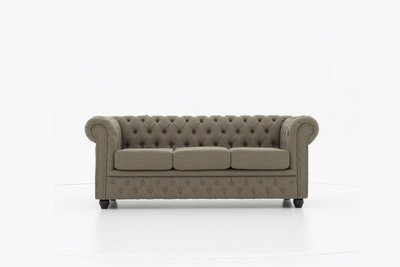 Chesterfield Sofa Fabric Pitch   3-seater    Beige   12 years guarantee