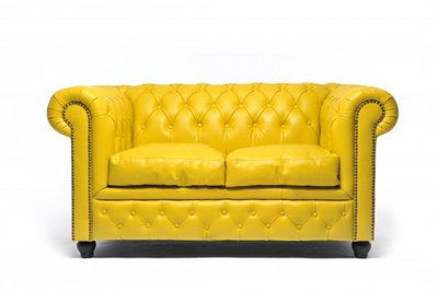 Chesterfield Sofa Original Leather | 2-seater  | Yellow | 12 years guarantee