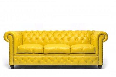 Chesterfield Sofa Original Leather | 3-seater  | Yellow | 12 years guarantee