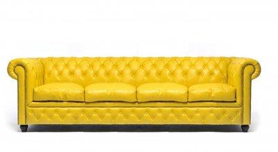 Chesterfield Sofa Original Leather | 4-seater  | Yellow | 12 years guarantee