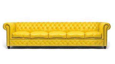 Chesterfield Sofa Original Leather   5-seater    Yellow   12 years guarantee