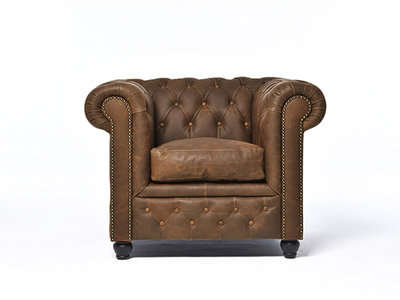 Chesterfield Armchair Vintage Leather | Alabama C1059 | 12 years guarantee