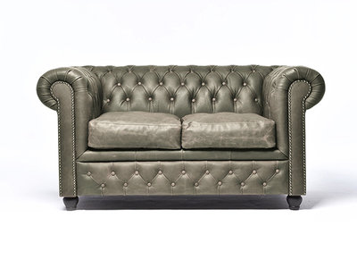 Chesterfield Sofa Vintage Leather | 2-seater  | Alabama C1057 | 12 years guarantee