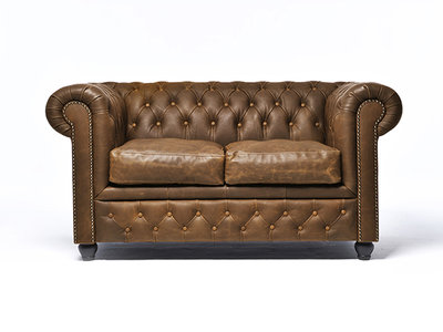 Chesterfield Sofa Vintage Leather | 2-seater  | Alabama C1059 | 12 years guarantee