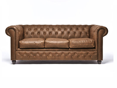 Chesterfield Sofa Vintage Leather | 3-seater  | Alabama C1059 | 12 years guarantee