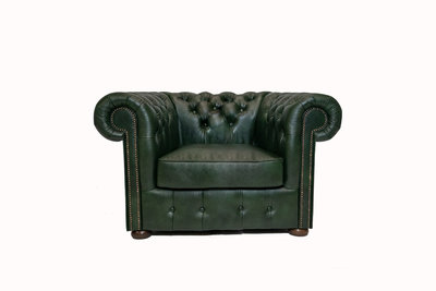 Chesterfield Armchair Class Leather | Cloudy Green | 12 years guarantee