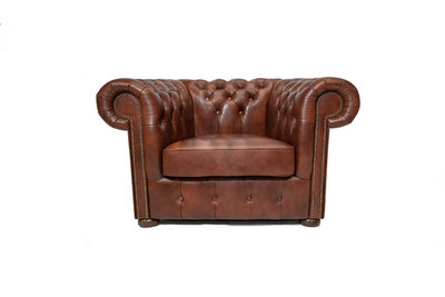 Chesterfield Armchair Class Leather | Cloudy Brown Old | 12 years guarantee