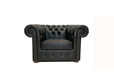 Chesterfield Armchair Class Leather | Shiny Black | 12 years guarantee