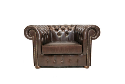 Chesterfield Armchair Class Leather | Cloudy Brown Dark | 12 years guarantee