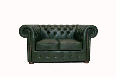 Chesterfield Sofa Class Leather   2-seater   Cloudy Green  12 years guarantee