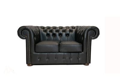 Chesterfield Sofa Class Leather | 2-seater | Shiny Black| 12 years guarantee