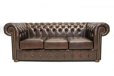 Chesterfield Sofa Class Leather | 3-seater | Cloudy Brown Dark| 12 years guarantee