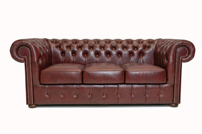 Chesterfield Sofa Class Leather | 3-seater | Cloudy Red | 12 years guarantee