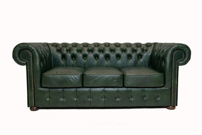 Chesterfield Sofa Class Leather | 3-seater | Cloudy Green | 12 years guarantee