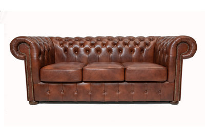 Chesterfield Sofa Class Leather | 3-seater | Cloudy Brown Old | 12 years guarantee