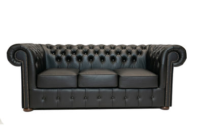 Chesterfield Sofa Class Leather   3-seater   Shiny Black   12 years guarantee