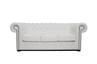 Chesterfield Sofa Class Leather | 3-seater | White | 12 years guarantee