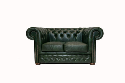 Chesterfield Sofa  First Class Leather   2-seater   Cloudy Green  12 years guarantee