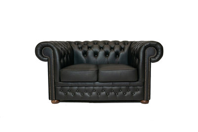 Chesterfield Sofa  First Class Leather | 2-seater | Shiny Black| 12 years guarantee