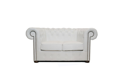 Chesterfield Sofa  First Class Leather | 2-seater | White| 12 years guarantee