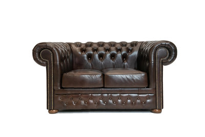 Chesterfield Sofa  First Class Leather   2-seater   Cloudy Brown Dark   12 years guarantee
