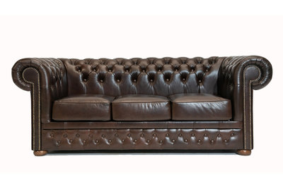 Chesterfield Sofa  First Class Leather | 3-seater | Cloudy Brown Dark | 12 years guarantee