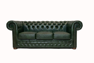 Chesterfield Sofa  First Class Leather | 3-seater | Cloudy Green| 12 years guarantee