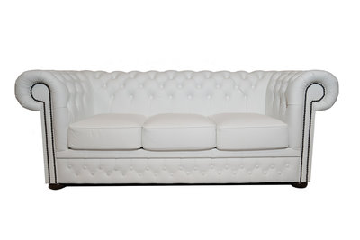 Chesterfield Sofa  First Class Leather   3-seater   White  12 years guarantee