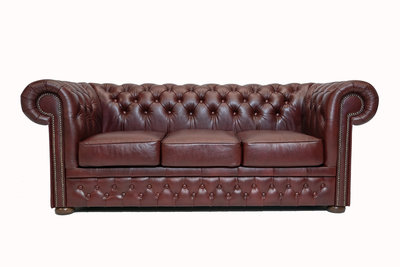 Chesterfield Sofa  First Class Leather | 3-seater | Cloudy Red| 12 years guarantee