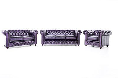 Chesterfield Sofa Original Leather | 1 + 2 + 3 seater  | Wash Off Purple | 12 years guarantee