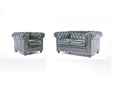 Chesterfield Sofa Original Leather | 1 + 2 seater  | Wash Off Green | 12 years guarantee