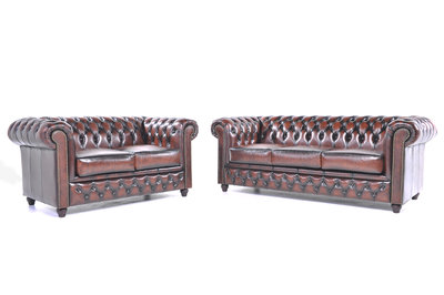 Chesterfield Sofa Original Leather | 2 + 3 seater  | Wash Off Brown | 12 years guarantee