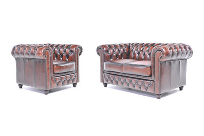 Chesterfield Sofa Original Leather | 1 + 2 seater  | Wash Off Brown | 12 years guarantee