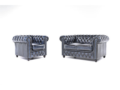 Chesterfield Sofa Original Leather | 1 + 2 seater  | Wash Off Blue | 12 years guarantee