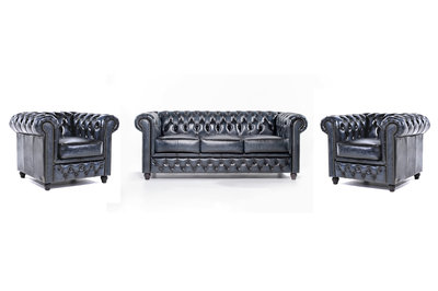 Chesterfield Sofa Original Leather | 1 + 1 + 3 seater  | Wash Off Blue | 12 years guarantee
