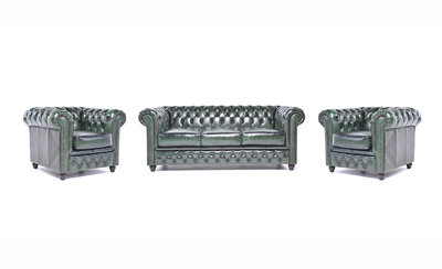 Chesterfield Sofa Original Leather | 1 + 1 + 3 seater  | Wash Off Green | 12 years guarantee