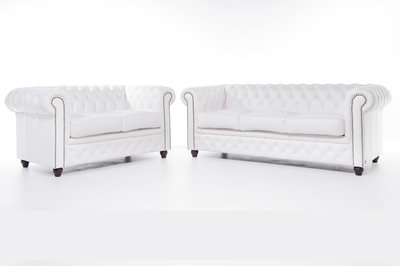 Chesterfield Sofa Original Leather   2 + 3 seater    White   12 years guarantee