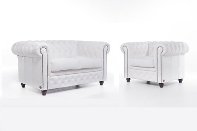 Chesterfield Sofa Original Leather | 1 + 2 seater  | White | 12 years guarantee