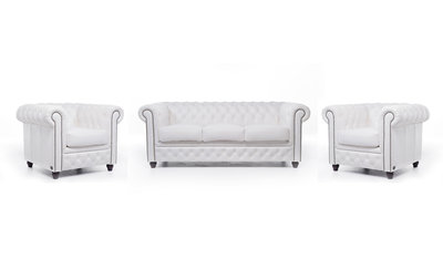 Chesterfield Sofa Original Leather | 1 + 1 + 3 seater  | White | 12 years guarantee