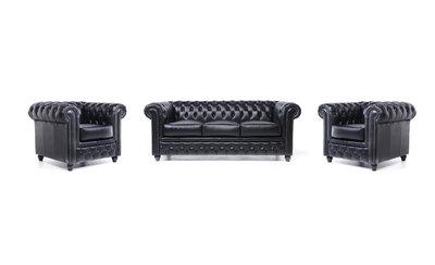 Chesterfield Sofa Original Leather   1 + 1 + 3 seater    Black   12 years guarantee