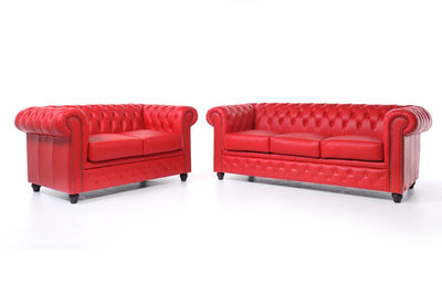 Chesterfield Sofa Original Leather | 2 + 3 seater  | Red | 12 years guarantee