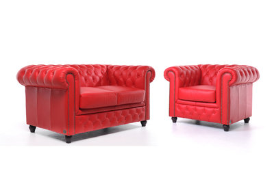 Chesterfield Sofa Original Leather | 1 + 2 seater  | Red | 12 years guarantee