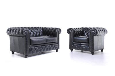 Chesterfield Sofa Original Leather | 1 + 2 seater  | Black | 12 years guarantee