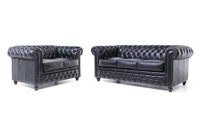 Chesterfield Sofa Original Leather | 2 + 3 seater  | Black | 12 years guarantee