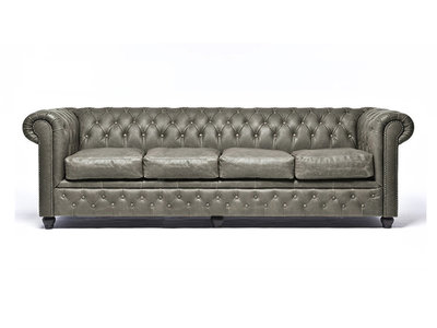Chesterfield Sofa Vintage Leather | 4-seater  | Alabama C1057 | 12 years guarantee