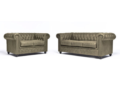 Chesterfield Sofa Vintage Leather |  2 + 3 seater  | Alabama C1057 | 12 years guarantee