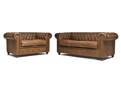 Chesterfield Sofa Vintage Leather | 2 + 3 seater  | Alabama C1059 | 12 years guarantee