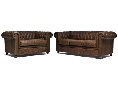Chesterfield Sofa Vintage Leather | 2 + 3 seater  | C0869 | 12 years guarantee