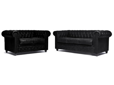 Chesterfield Sofa Vintage Leather | 2 + 3 seater  | C0871 | 12 years guarantee