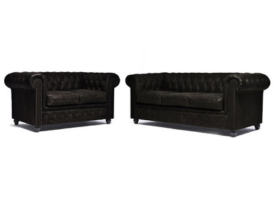 Chesterfield Sofa Vintage Leather   2 + 3 seater    C0936   12 years guarantee